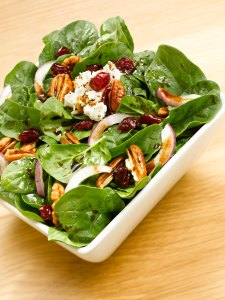 Iris' Spinach Salad with Raspberry Balsamic Vinegar