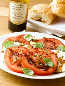 Caprese Salad with Sun Dried Tomato Dipping Oil